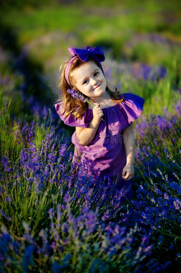 Little toddler lovely girl with flowers in pink dress at beautiful garden stock image