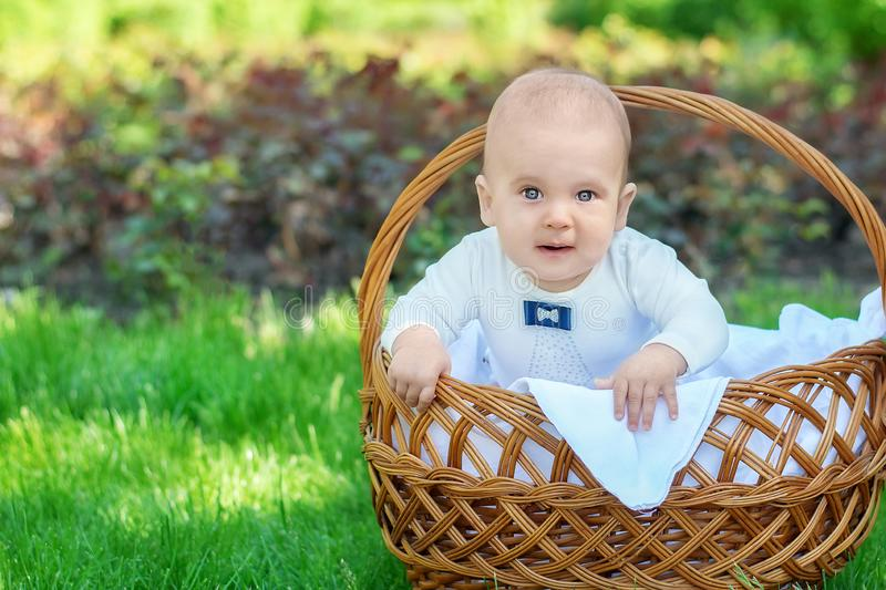 Little toddler in a white suit getting out of a basket on a picnic. Easter fun, surprise and family activity concept stock images