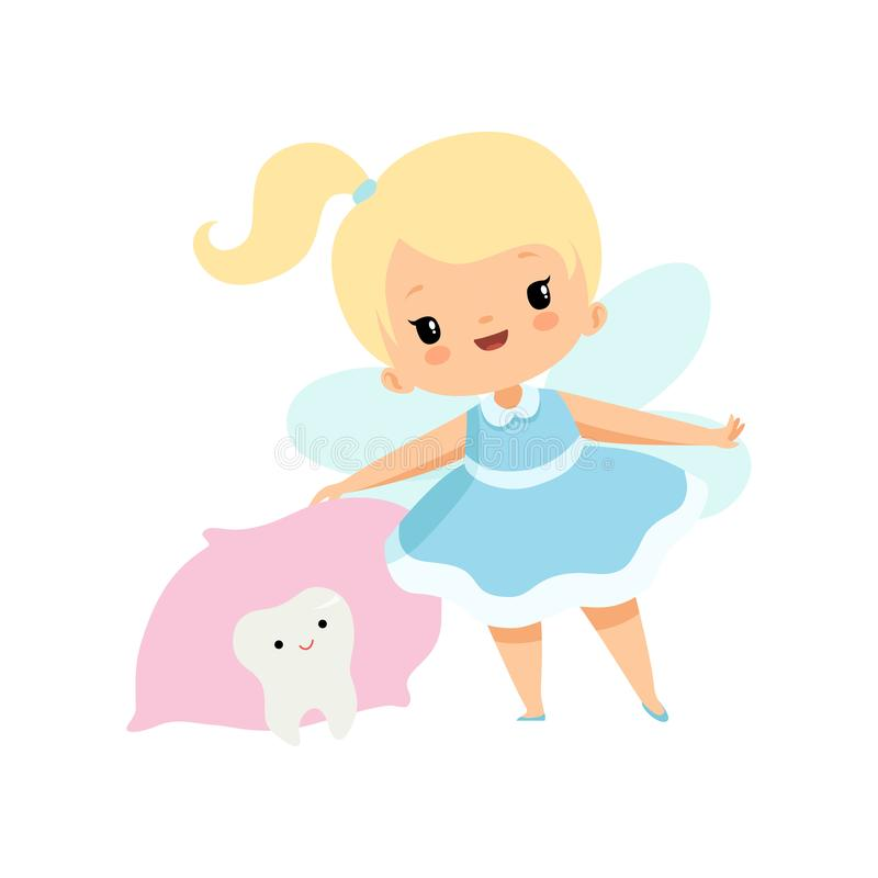 Little Tooth Fairy and Cute Baby Tooth Under Pillow, Lovely Blonde Fairy Girl Cartoon Character in Light Blue Dress with vector illustration