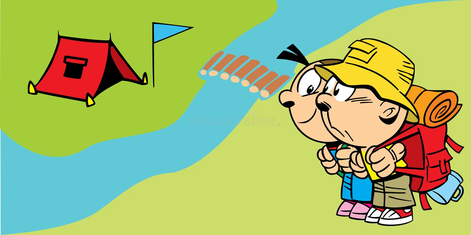 Little tourists. The illustration shows a couple of young tourists near the camp. Illustration done in cartoon style, on separate layers vector illustration