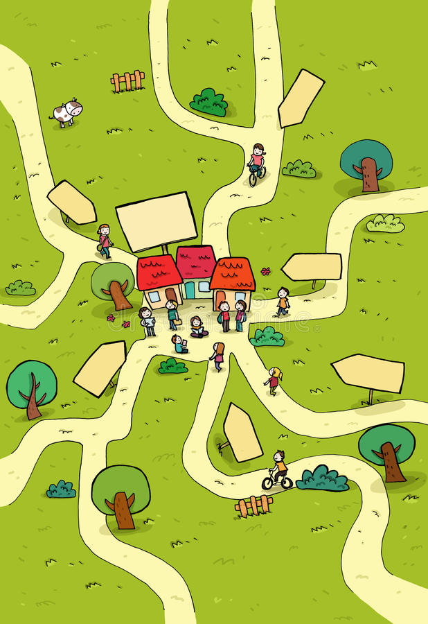 Download Little town cartoon map stock illustration. Image of boys - 22141171