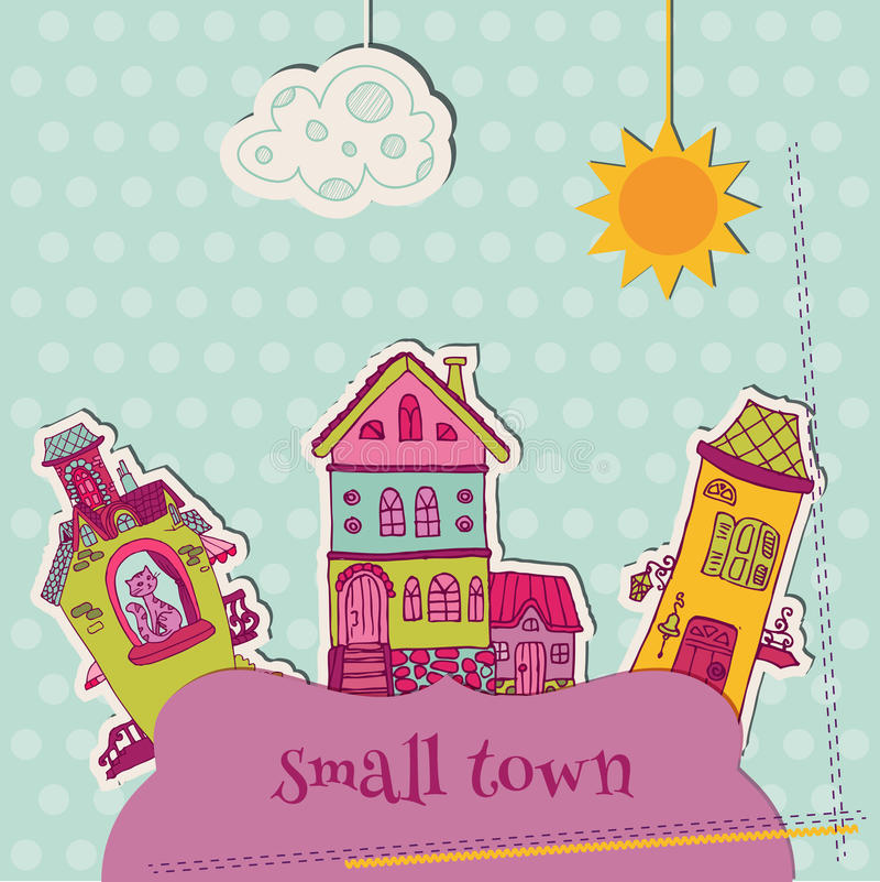 Little Town Scrap. For scrapbooking and design - in royalty free illustration