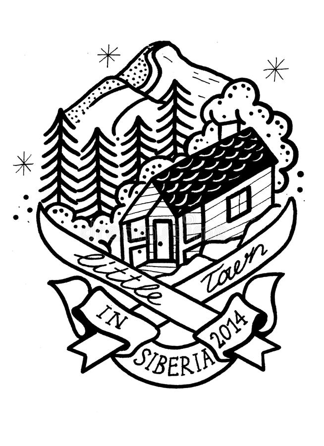 Little town is Siberia. The house is where your heart is. Sketch of a tattoo for those whose life is a mountain. Made in Siberia royalty free illustration