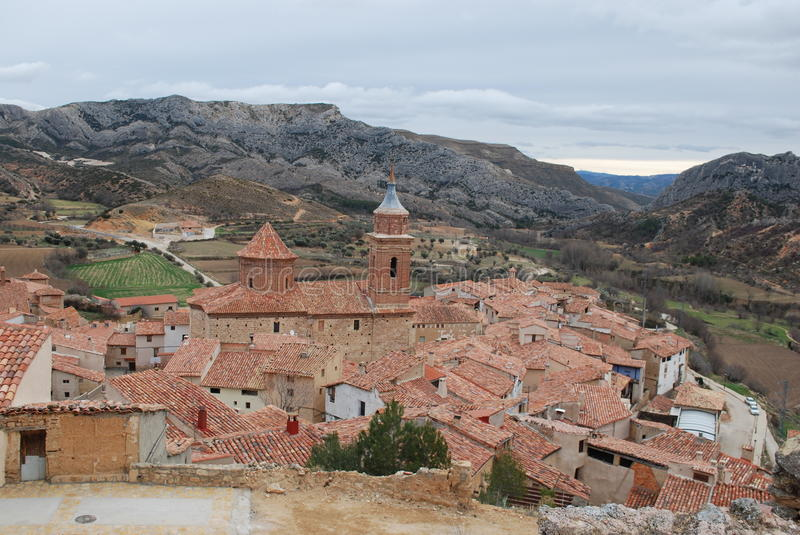 Download Little town in Teruel stock image. Image of church, classic - 13330311
