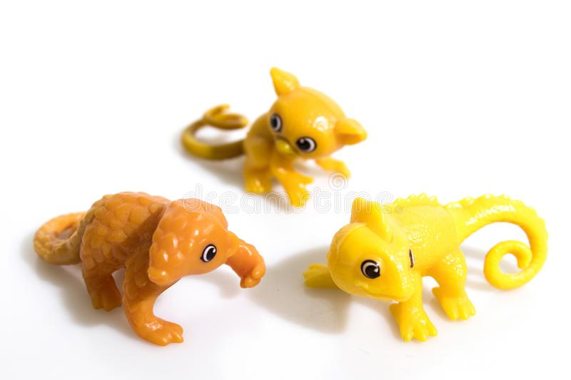 Little toys isolated in a white background stock image