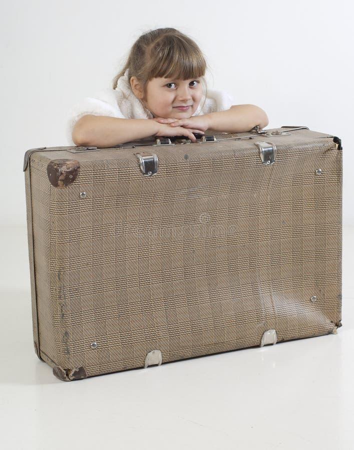 Little traveler girl stock image