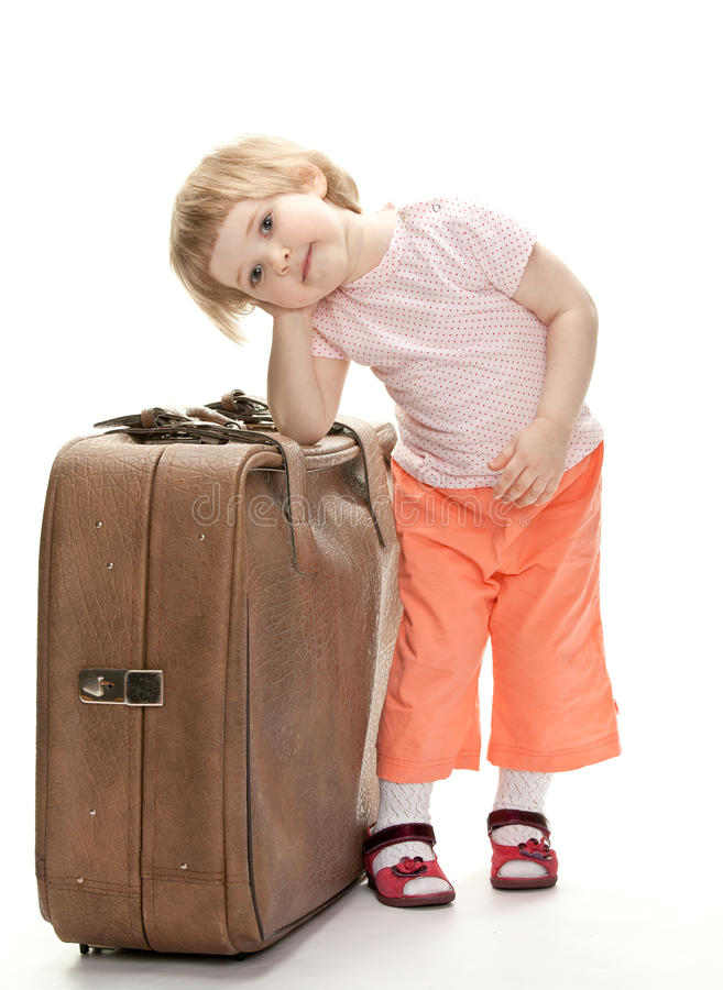 Little Traveler Preparing For A Trip Royalty Free Stock Photography