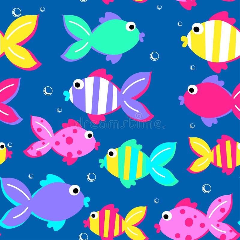 Little tropical fish swimming seamless pattern.  stock illustration