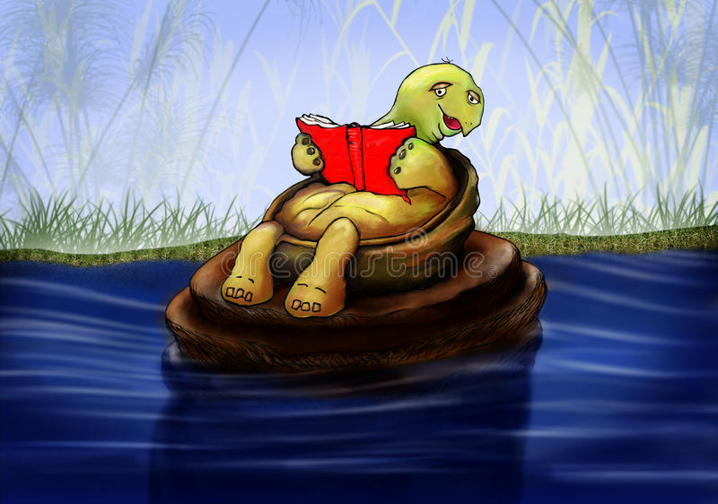 Little turtle reading a book stock illustration