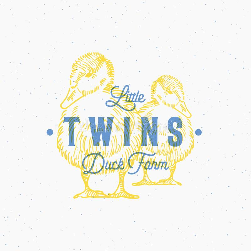 Little Twins Duck Farm Abstract Vector Sign, Symbol or Logo Template. Hand Drawn Ducks Sillhouettes with Retro stock illustration
