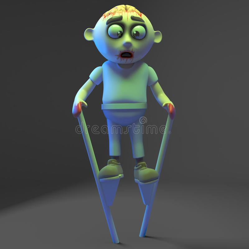 Little undead zombie monster feels very tall on his stilts, 3d illustration. 3d illustration stock illustration
