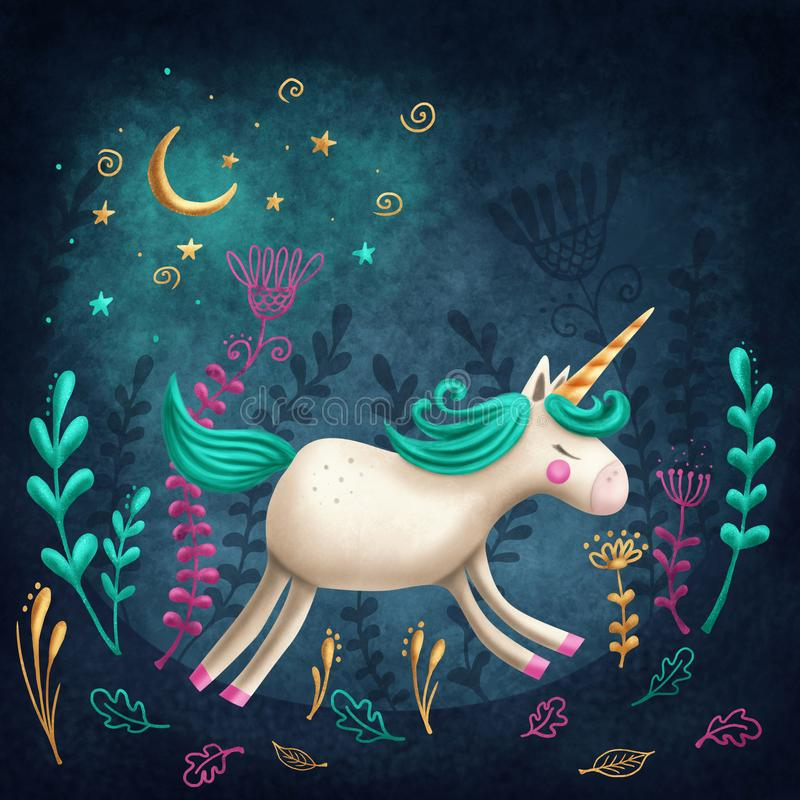 little unicorn royaltyfri illustrationer