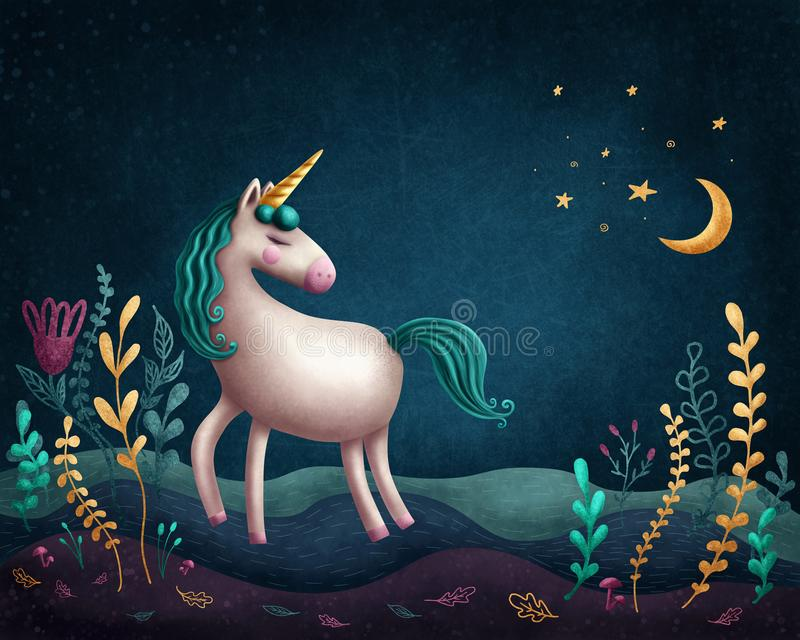 Little unicorn. Illustration of a little unicorn stock illustration