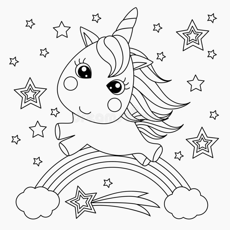 Little unicorn on a rainbow. Design for children. Black and white illustration for coloring book. Vector image stock illustration