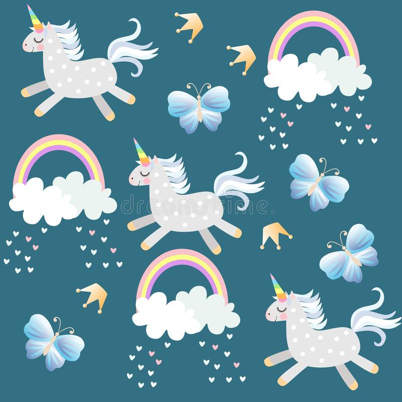 Little unicorns frolic in the sky. Butterflies, crown, hearts, clouds and rainbow on dark emerald green background. In vector. Endless pattern for baby. Print stock illustration