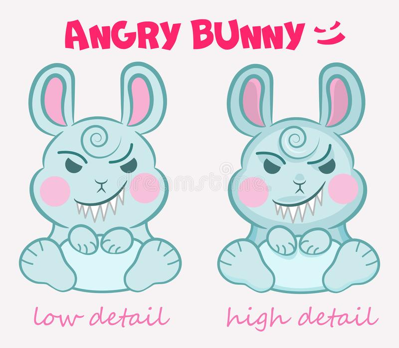 Little vector cute evil bunny is sitting with a terrible smile in two detail mode. Concepts for children`s party, event, Hallowee stock illustration