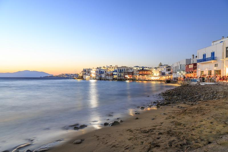 Little venice from beach in old town part of Mykonos, Greece. During sunset stock images