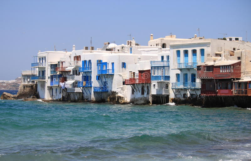 Little Venice in Mykonos stock images