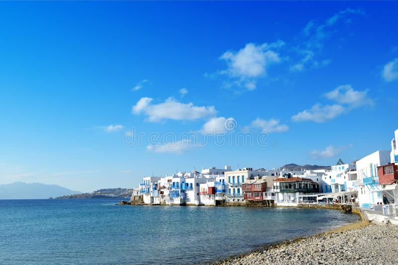 Little Venice at Mykonos. Greece royalty free stock image