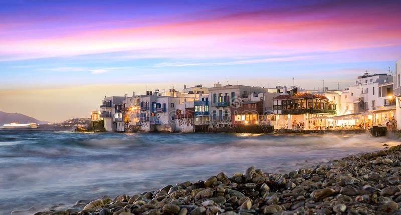 Little Venice in Mykonos town, Greece. After sunset stock photos