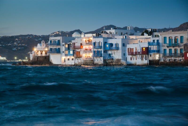 little venice at sunset, mykonos, Greece - luxury travel destiation - greek islands royalty free stock images