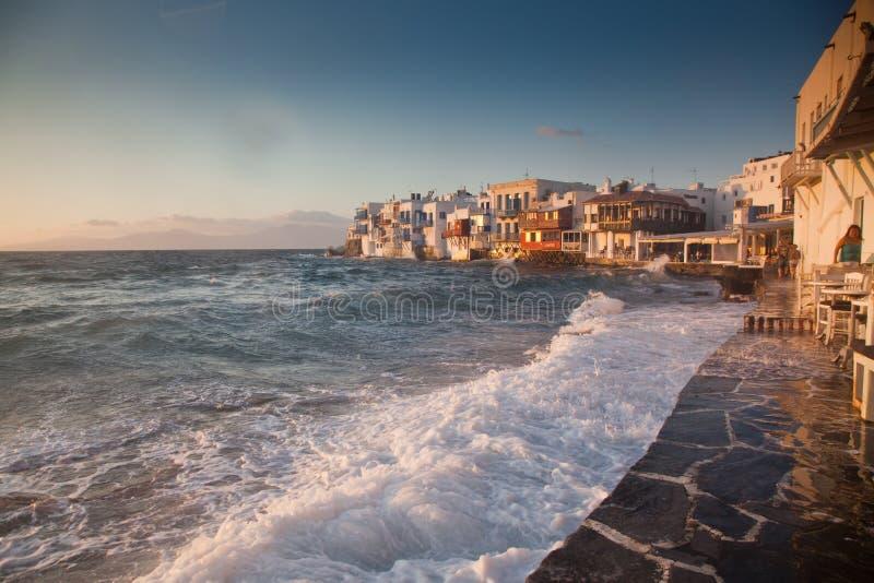 little venice at sunset, mykonos, Greece - luxury travel destiation - greek islands stock images