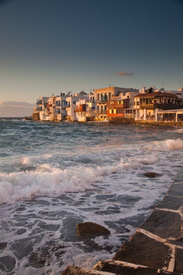 little venice at sunset, mykonos, Greece - luxury travel destiation - greek islands stock image