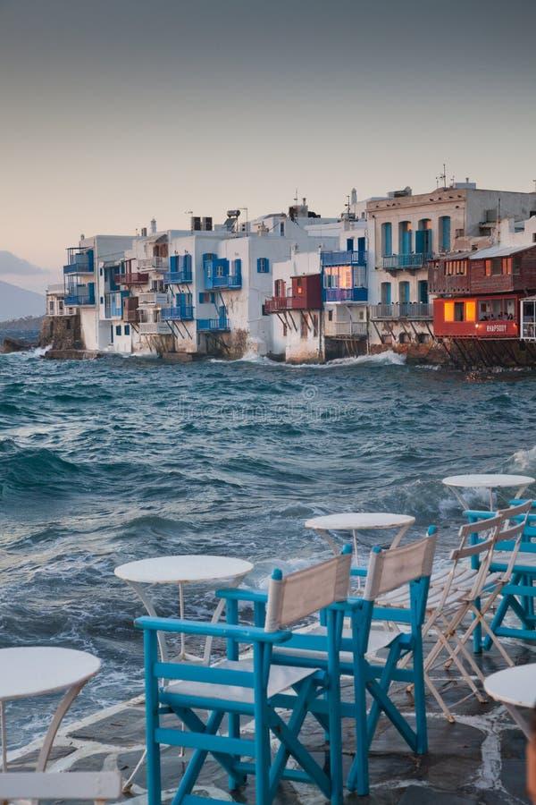 little venice at sunset, mykonos, Greece - luxury travel destiation - greek islands royalty free stock photo