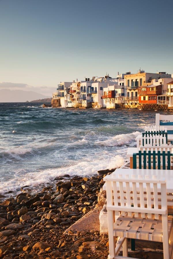 little venice at sunset, mykonos, Greece - luxury travel destiation - greek islands stock photography