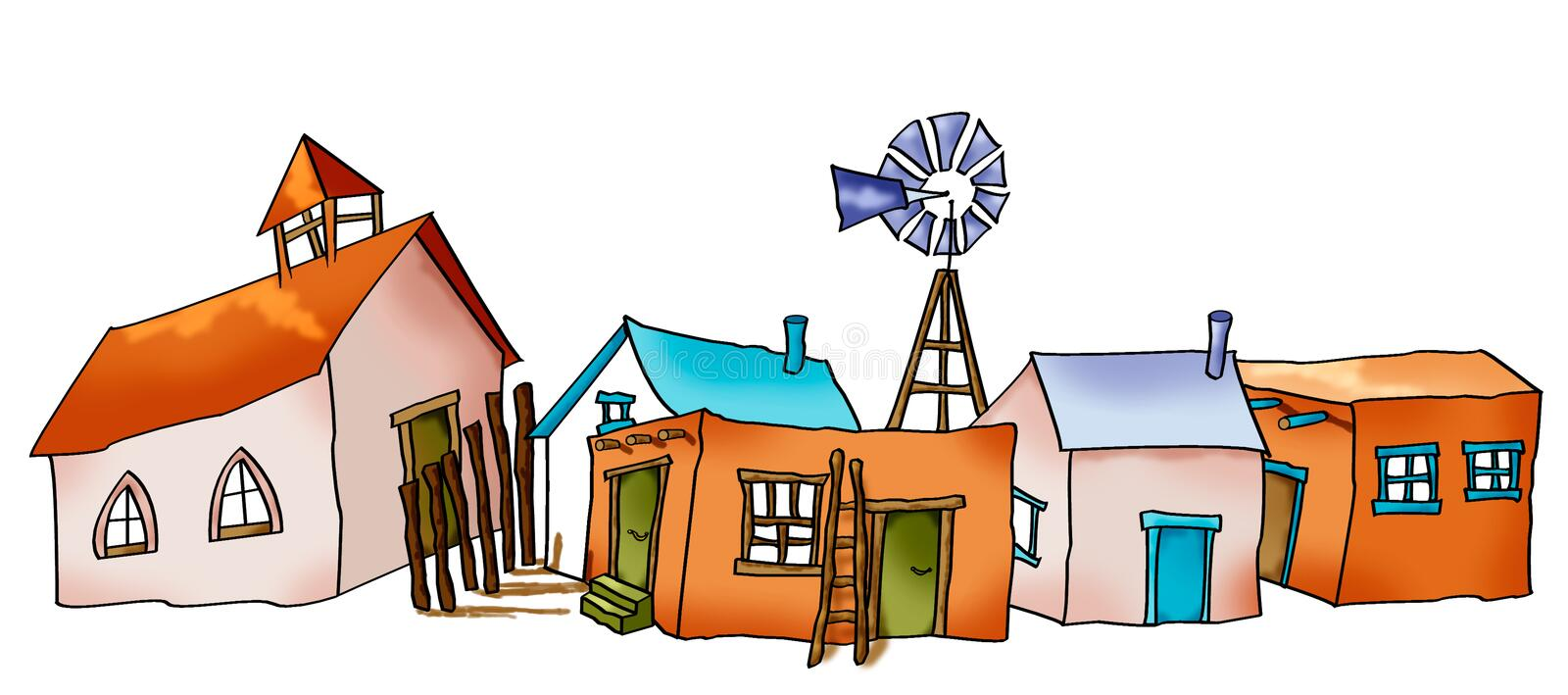 Little Village. Drawing of southwestern village with a church and adobe houses stock illustration