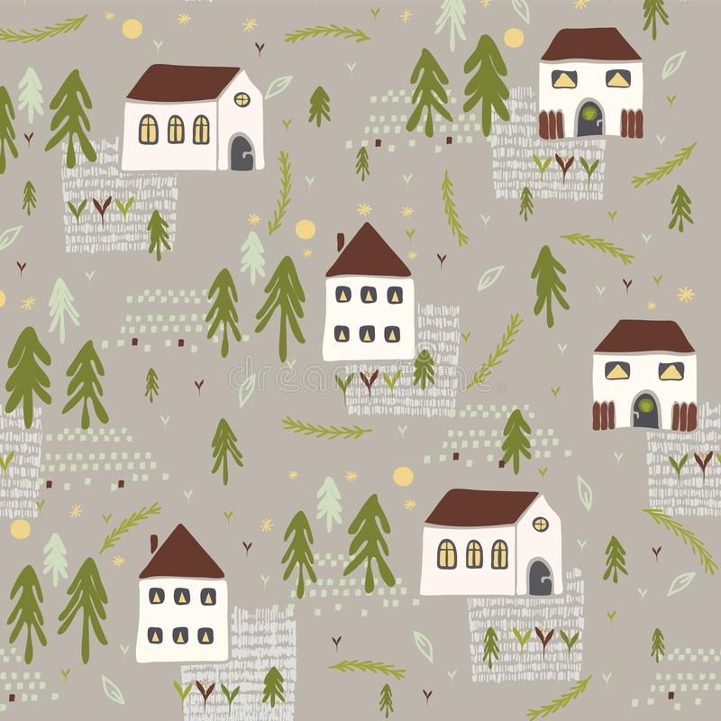 Free Little Village Church House N Trees Vector Pattern Stock Photography - 123304012