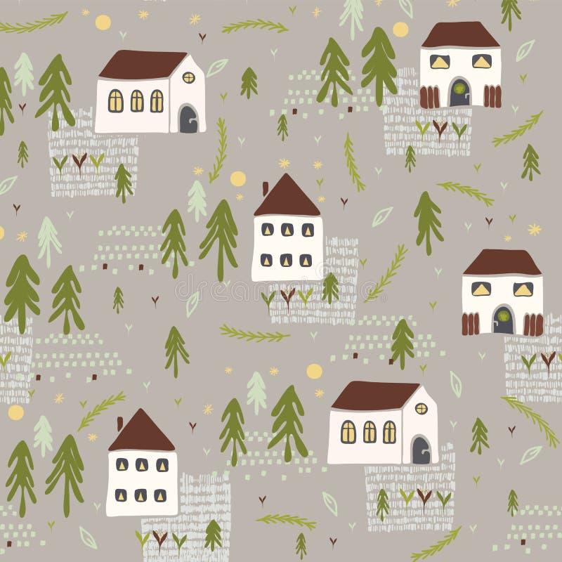 Little Village Church House n Trees Vector Pattern stock illustration