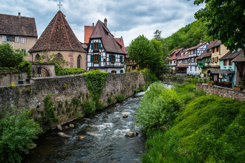 Little village Kaysersberg in France royalty free stock image