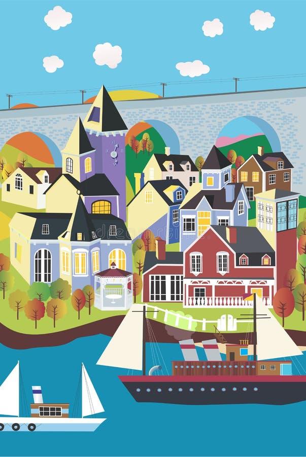 Download Little village on the sea stock vector. Illustration of grain - 3441255