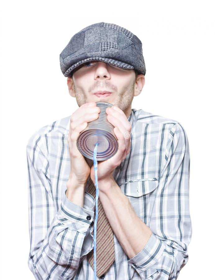 Download Little Vintage Boy Talking On A Tin Can Telephone Stock Image - Image of leisure, boys: 27199583