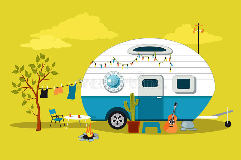 Little vintage camper. Cartoon travelling scene with a vintage camper, a fire pit, camping table and laundry line, EPS 8 vector illustration, no transparencies royalty free illustration