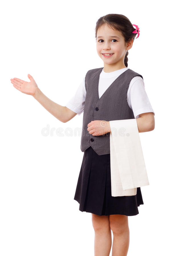 Download Little waitress with towel stock image. Image of staff - 23937489