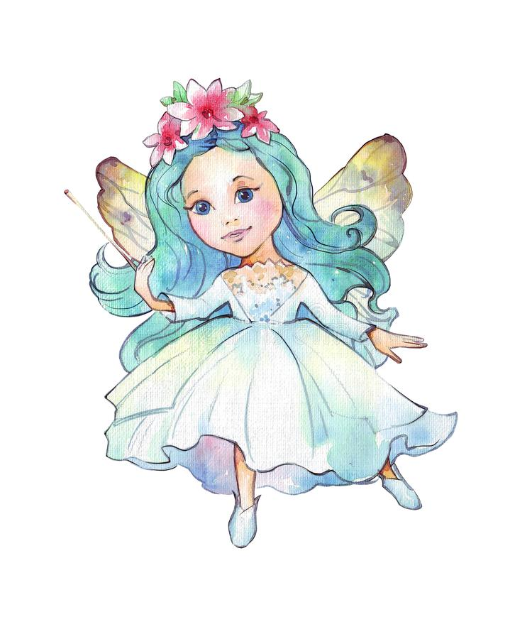 Little watercolor fairy. Isolated on white vector illustration