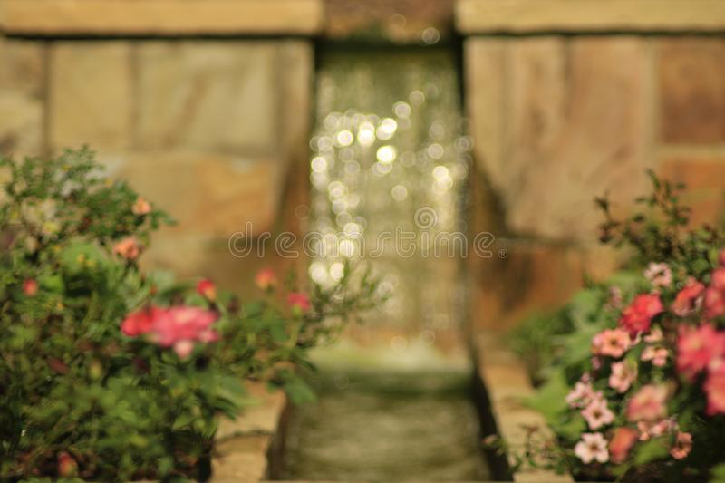 The Little Waterfall in the Flower Gardens. `The Little Waterfall in the Flower Gardens` is a photo captured at Columbus Botanical Garden, located in Columbus royalty free stock photos