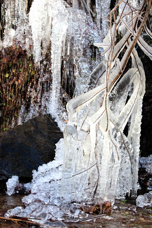 Download Little Waterfall And Needle Ice Stock Photo - Image: 17412936