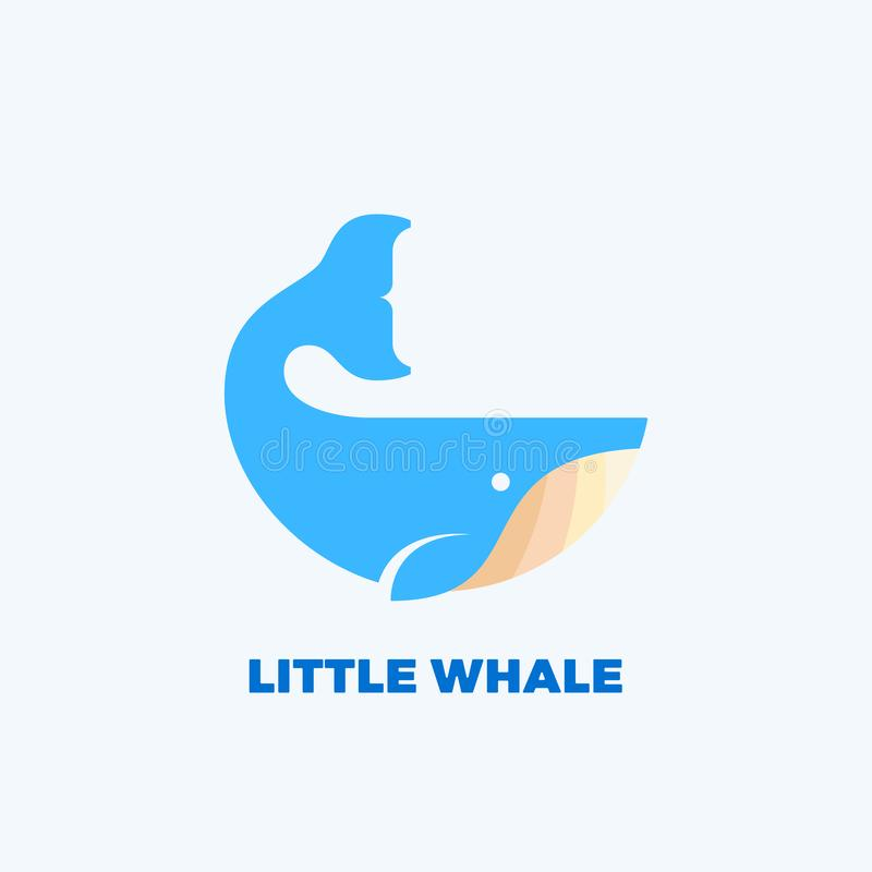 Little Whale Abstract Vector Emblem, Label, Logo Template. Wise Mammal Concept Symbol or Icon. Flat Style Silhouette. vector illustration