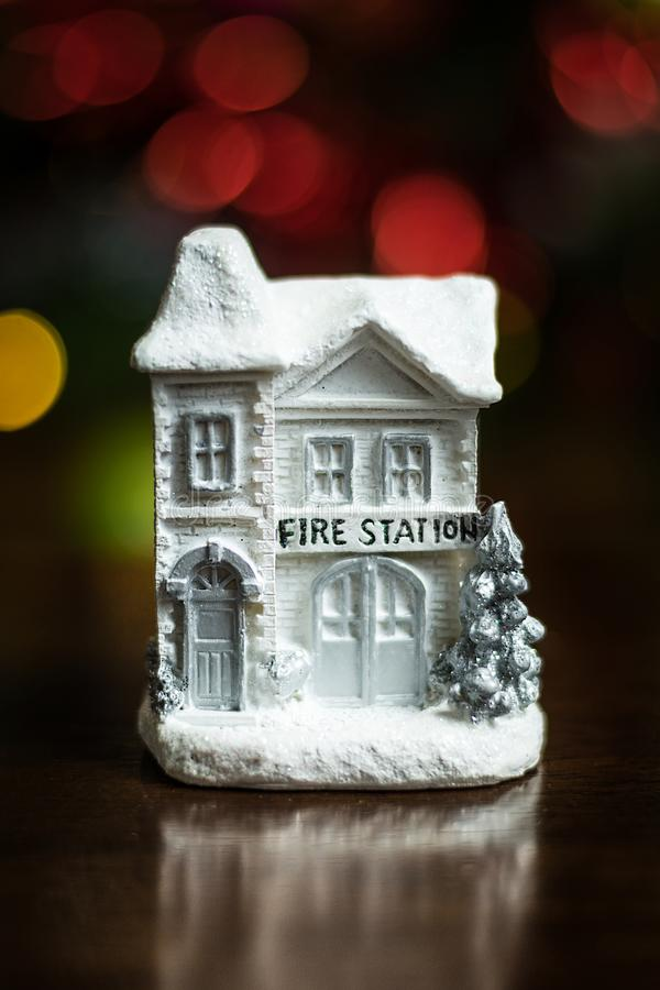 Little white fire station house stock photos