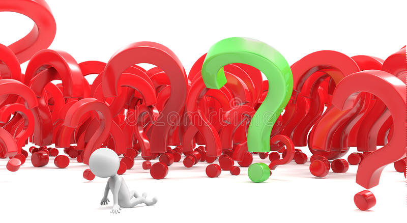 Little white human characte in question marks royalty free illustration