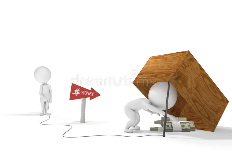 Little white man deceives another man with a money trap. 3d human figure falls into the trap created with some bills by another character royalty free illustration