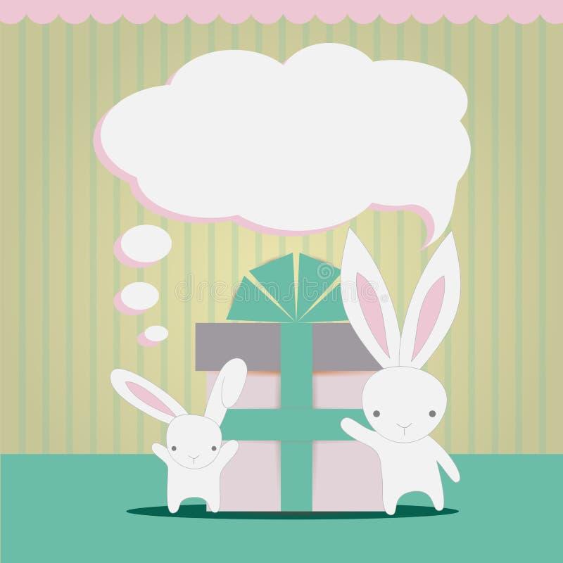Little white rabbits Birthday gift stock photos