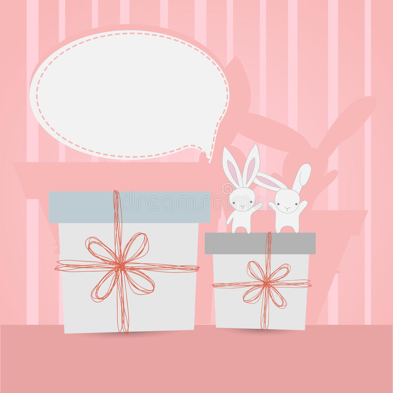 Little white rabbits Birthday gift stock photography