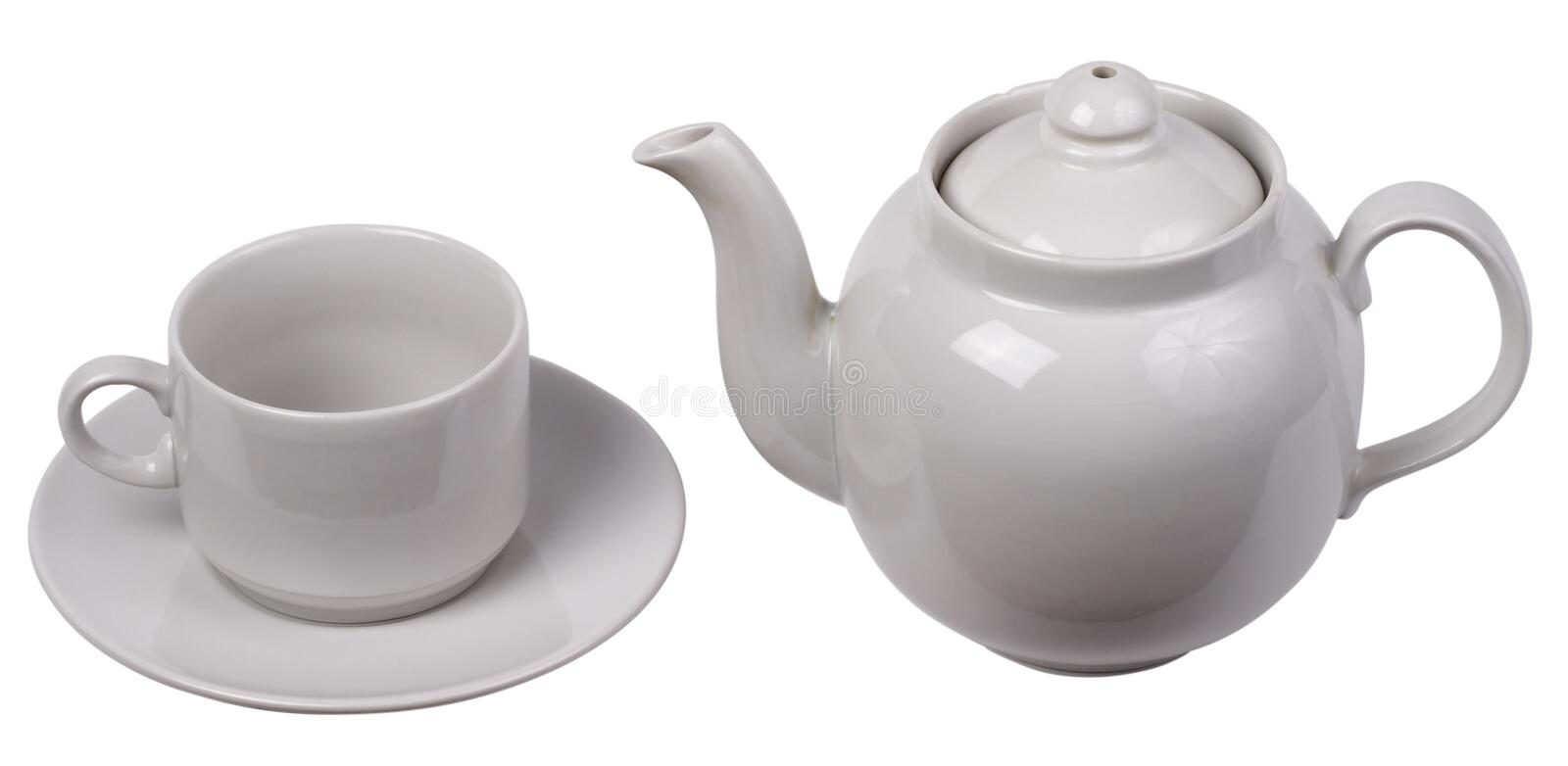 Download Little White Tea Cup And A Kettle Stock Images - Image: 13940344