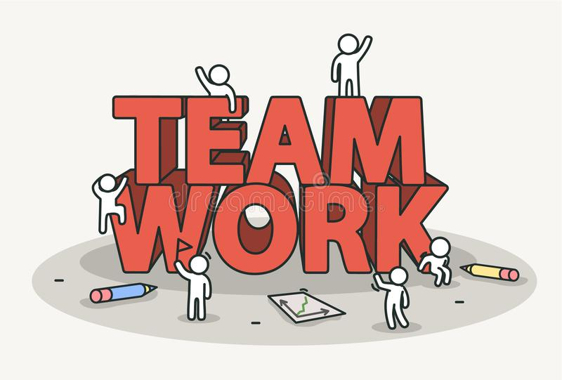 Little white with team work text. Teamwork and success concept. royalty free illustration