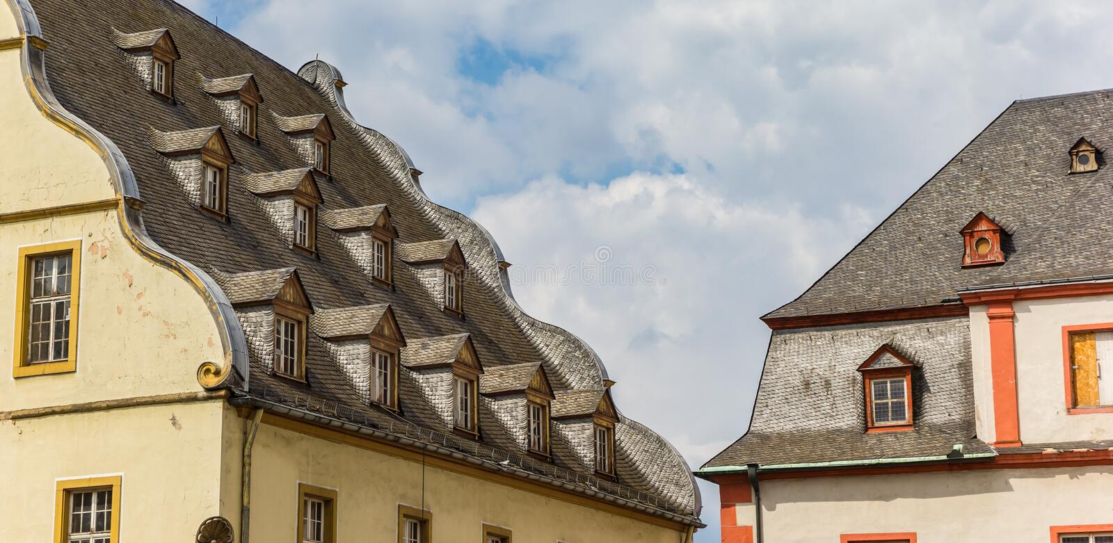 Little windows on the roof of the Burresheimer Hof building in Koblenz. Germany royalty free stock photo