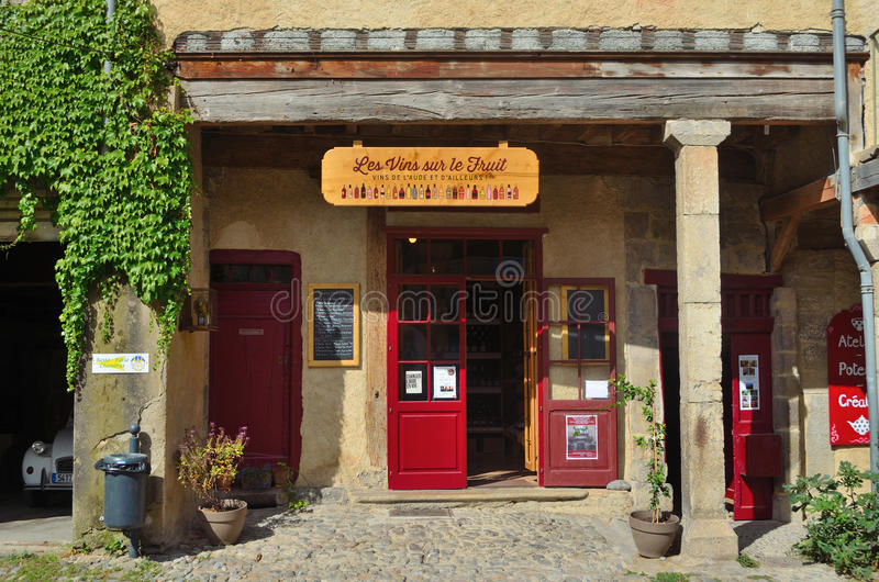 Little Wine Shop Lagrasse royalty free stock images